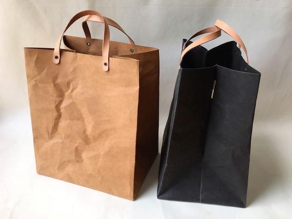 kraft paper minimal lunch bag with handles shopping bag market etsy