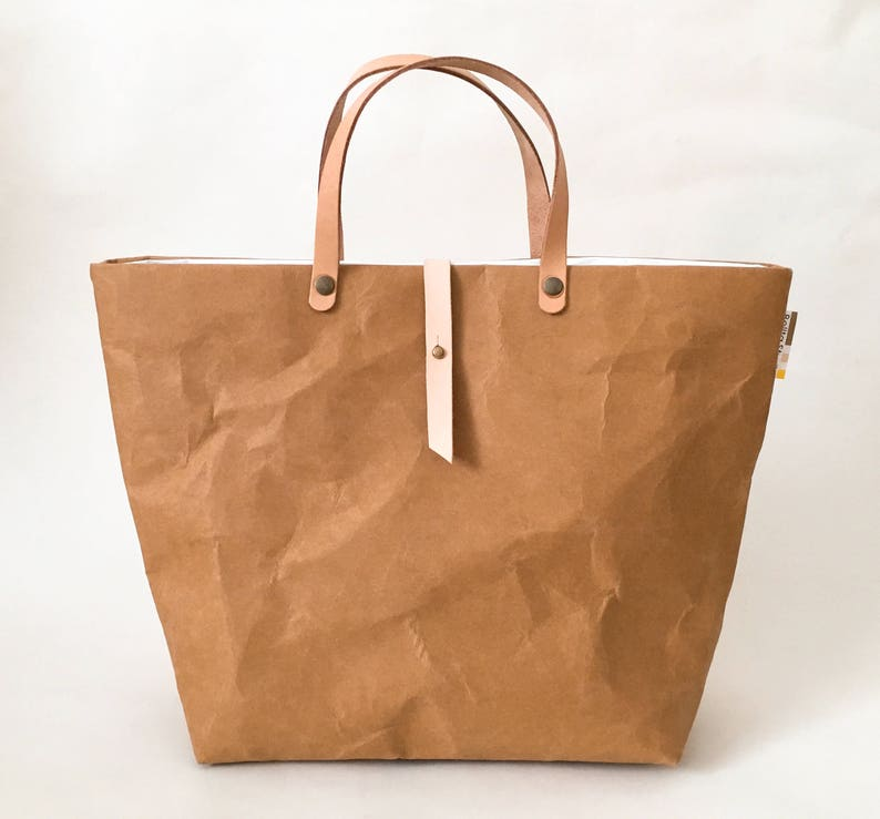 Tote Bag with Closure SMALL   Tyvek and Kraft paper tote  dce9f6da6bab7