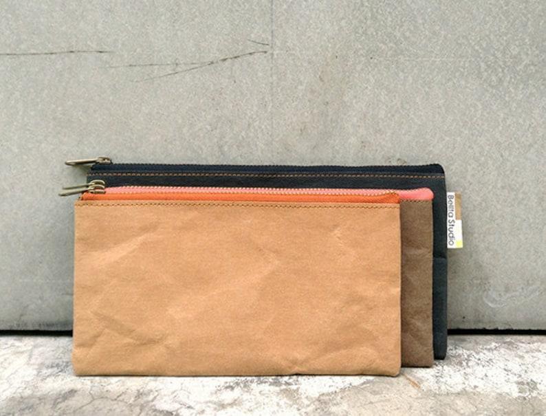 Travel Pouch Tyvek and Kraft paper travel pouchpencil bagzipper pouchpencil casepencil holdertravel walletYKK zipper