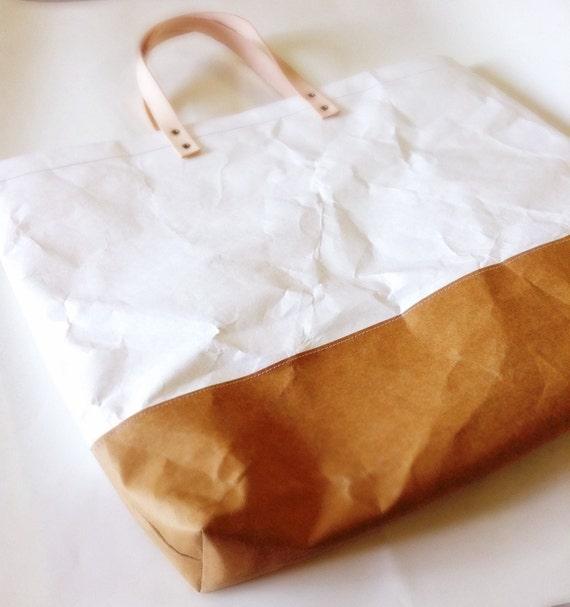 f79b7a2f7c4 Tote Bag Grand   Tyvek and Kraft paper tote bag market   Etsy