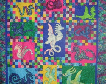 ePattern - Quilt pattern - Dragons Alive - fantastic scrappy applique dragon quilt pattern