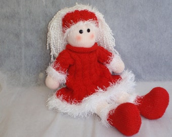 e-Pattern - Knitted  doll - Sadie - gorgeous in her red cable dress - perfect for Christmas