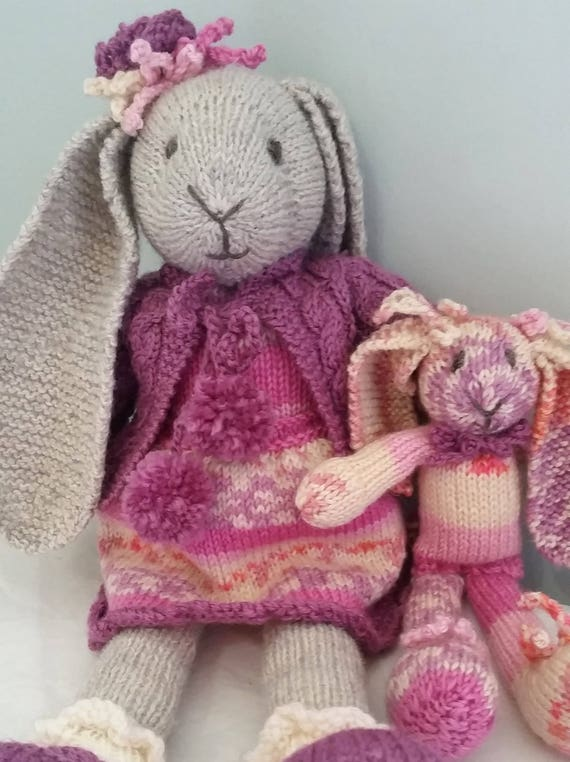 E Pattern Knitted Bunny Pattern Myrtle A Dressed Bunny Etsy