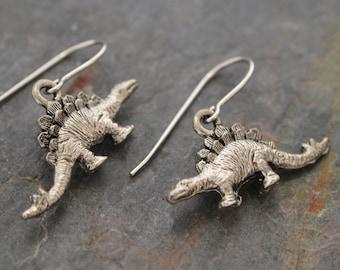 Stegosaurus Earrings, Dinosaur Earrings, Jurassic Earrings, Dino Earrings, Dinosaur Jewelry, Dinosaur Lover Gift