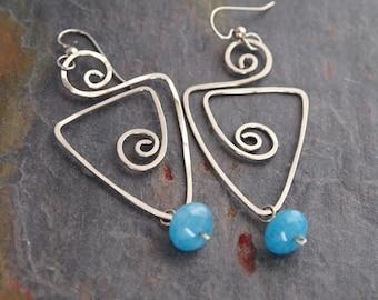 Hand Forged Wire Earrings, Angelite Earrings, Blue Stone Earrings, Unique Gift, Wire Earrings, Lightweight Earrings