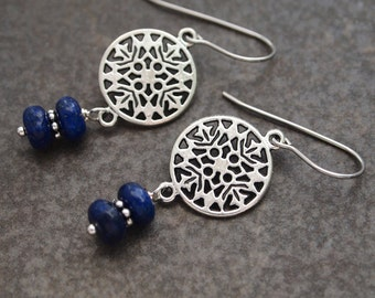 Nordic Snowflake Earrings, Lapis Earrings, Nordic Gift, Snowflake Earrings, Simple Stone Earrings, Gift for Her