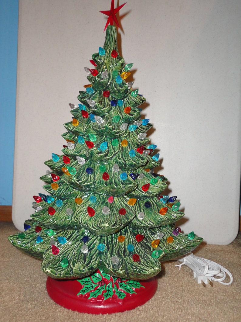 New Ceramic Christmas Tree 19 Tall With Green Base