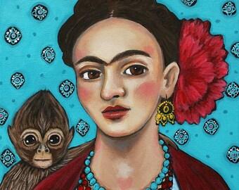 Frida Kahlo with Monkey - Art Print - Art by Regina Lord