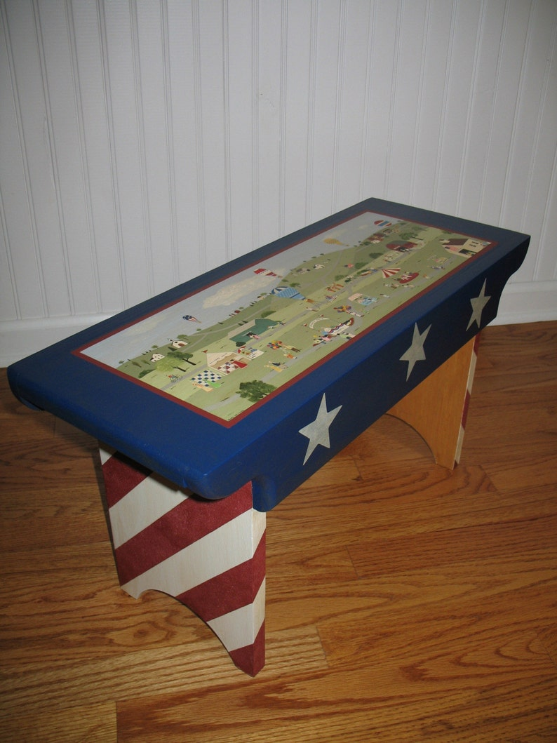 Painted Wood Bench with an Americana County Fair Design
