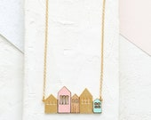 Short Copenhagen Necklace, Urban Necklace, House Necklace, Home Sweet Home, Cityscape Necklace, Home Necklace