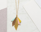 Long Northern Lights Necklace, Veneer Necklace, Formica Jewelry, Signature Necklace, Scandinavian Design, Geometric Necklace, Urban Chic