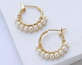 Matilde Earrings, Bridal Earrings, Pearl Earrings, Wedding Earrings, Gold Earrings, Hoop Earrings, Wedding Jewelry,