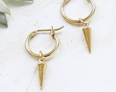 Eddie Earrings, Small Hoop Earrings, Spike Hoop Earrings, Spike Pendant Earrings, Silver Spiked Hoop Earrings, Gold Spiked Hoop Earrings