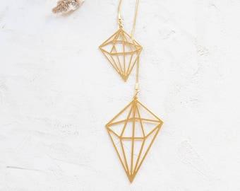 Geometric Diamond Necklace, Geometric necklace, signature necklace, Architectural jewelry
