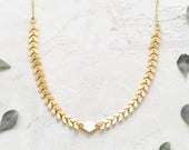 Andromeda Necklace, Geometric Chevron Necklace, Link Necklace, Golden Chevron Necklace,
