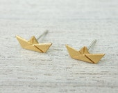 Paper Boat Post Earrings, Nautical Theme, Sailing Jewelry, Sea Lovers Gift, Skippers Jewelry, Origami Earrings, Japanese Inspired Earrings