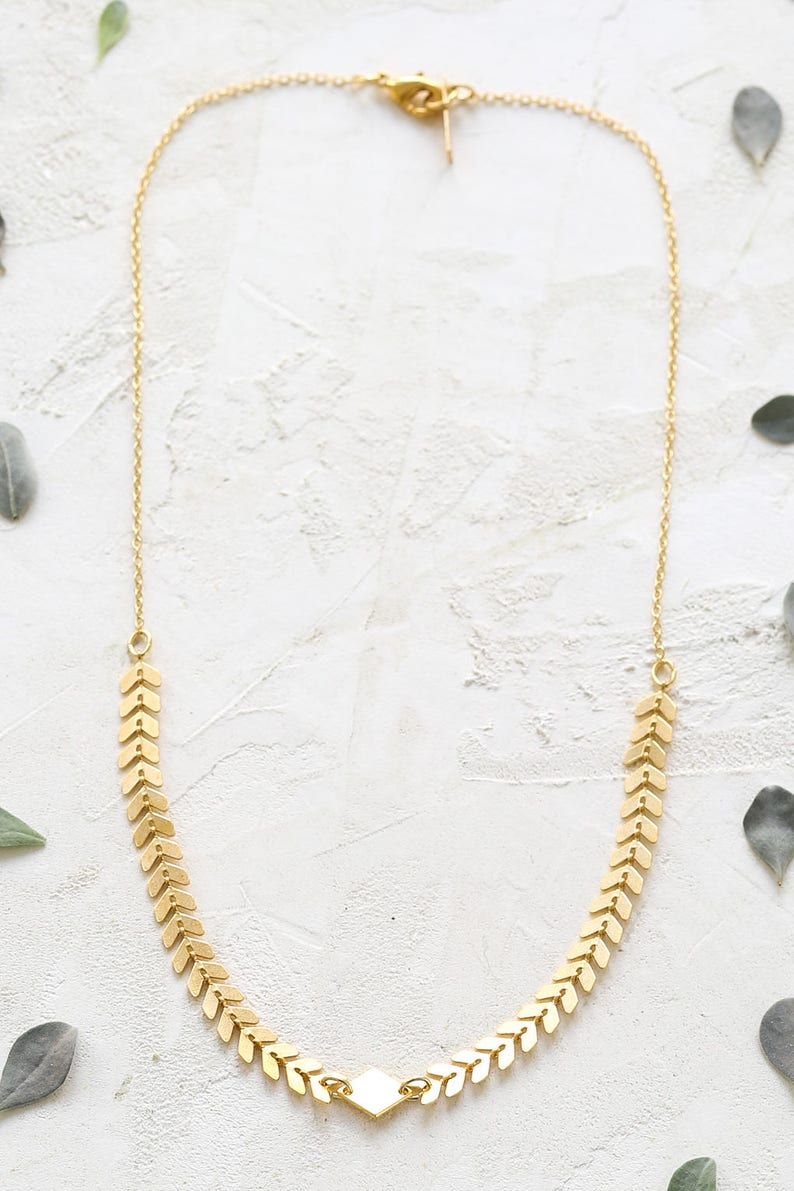 Andromeda Necklace Geometric Chevron Necklace Link Necklace image 0