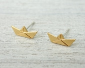 Paper Boat Post Earrings, Nautical Theme, Sailing Jewelry, Sea Lovers Gift, Skippers Jewelry, Origami Earrings, Japanese Inspired Earrings