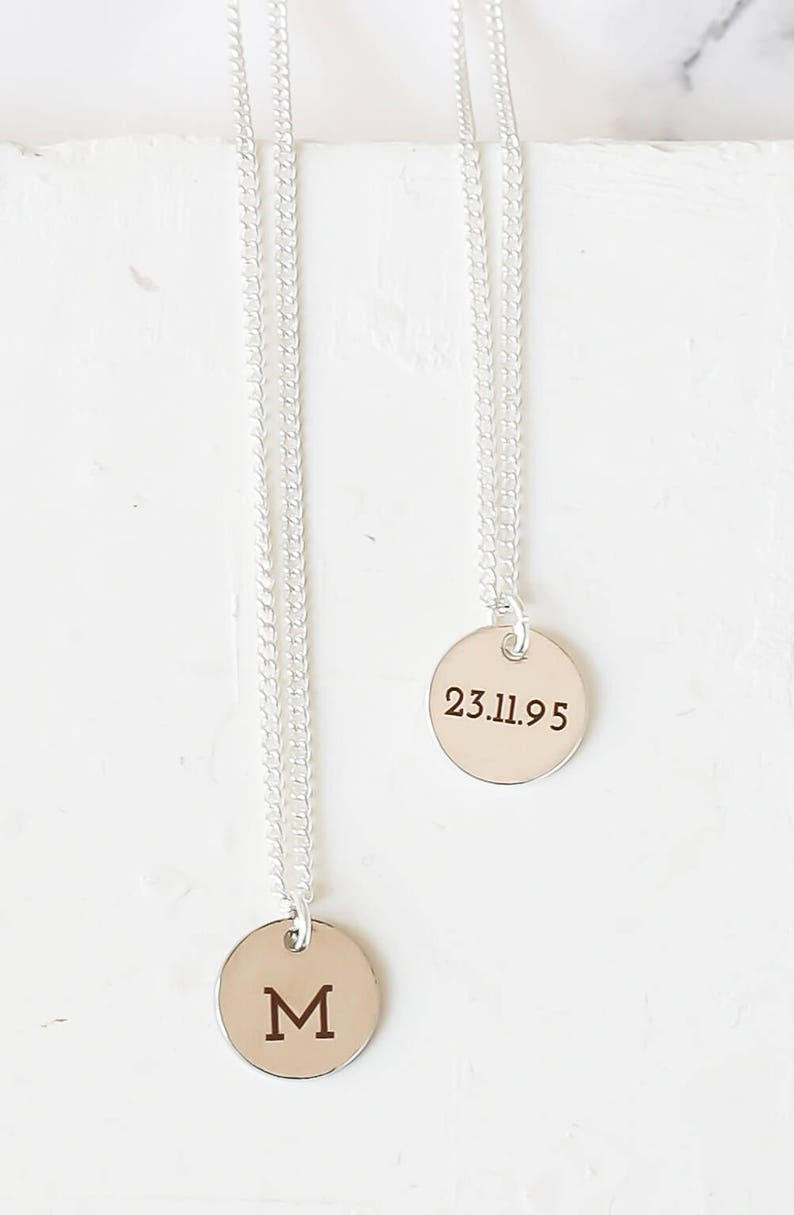 Name Necklace Tiny Monogram Necklace Gold Monogram Initial Necklace Custom Engraved Tiny Disc Necklace Personalized Disc Necklace