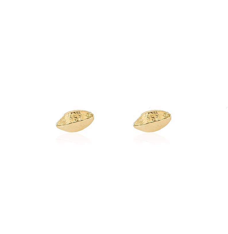Small Post Earrings Solid Gold Studs, Botanical Posts Solid Gold Small Yucca Post Earrings Minimalist Studs Solid Gold Earrings