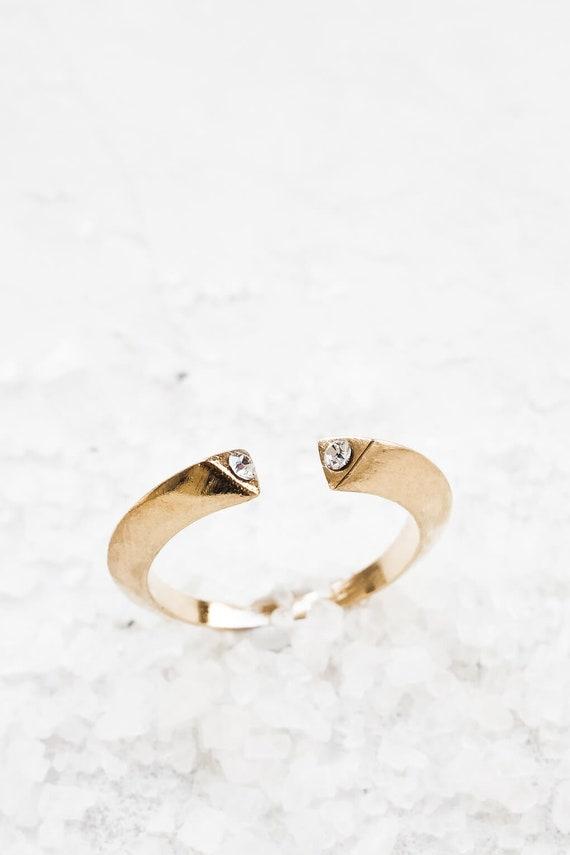 Winterring, Gold Kristall Ring, verstellbare offene Ring, stapelbare Ring, Stapelring, geometrische Ring, zierliche Silber Ring,