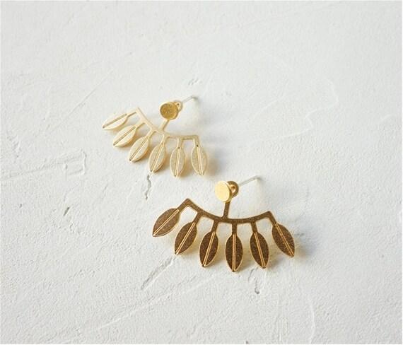 Sansa Ear Jackets Leaves Earrings Botanical Jewelry Gold Ear Jackets Botanical Earrings Leaves Ear Jackets Botanical Ear Jackets