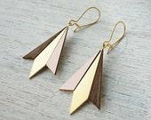 Northern Lights Drop Earrings, Scandinavian Design, Geometric Wooden Jewelry, Arrows Earrings, Veneer Earrings, Formica Earrings