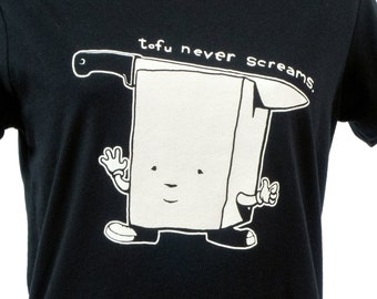 NEW T-SHIRT Ladies Tofu Never Screams - Sizes S-XL