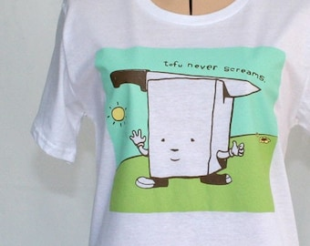 SaLE! Now 14 DoLLarS Tofu Never Screams Organic Ladies T SHIRT Size XL - Free Priority Mail Shipping within the US