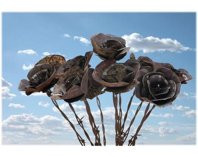 Barb Wire Love Desert Flowers - Large Bouquet of 12  READY to SHIP