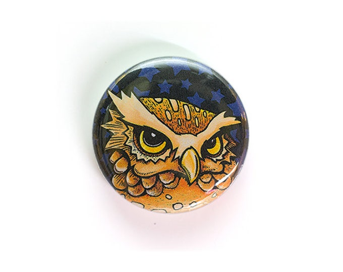 Carpe Noctum Owl - One Inch Button or Magnet - Free Shipping