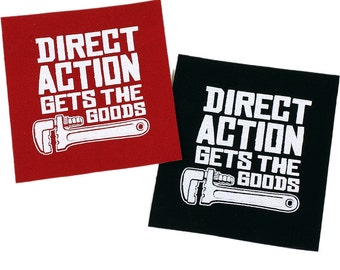Direct Action PATCH Iron-On 3 x 3.25 inches Choose Black or Red