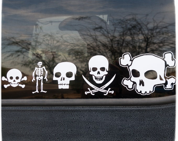 5 VINYL DECALS - Choose Your Color - Skull Pack #1 - Ships free within the US