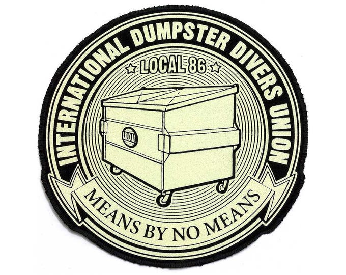 JUMBO International Dumpster Divers Union PATCH Iron On with Stitched Edge 8.5 x 8.5 inches