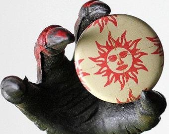 Orange Sunshine Blotter 1 inch Button or Magnet - Free Shipping