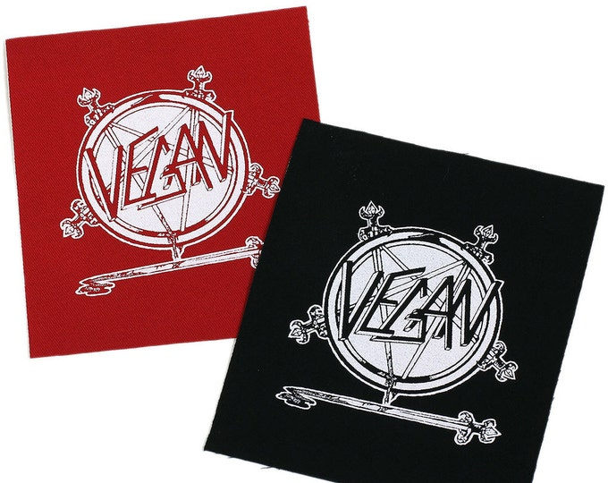 Vegan SLAYER PaTCH  Iron-On 3.5 x 4 inches - Ships FREE USPS First Class Worldwide