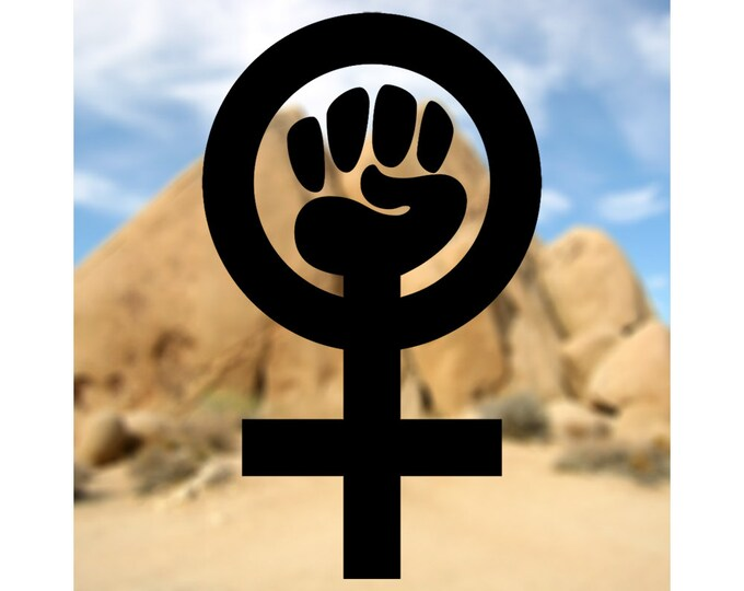 WINDOW DECAL Choose Color & Size - Feminist Symbol Vinyl Window Decal - Ships free within the US