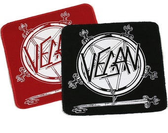 PATCH Vegan SLAYER Logo Iron-On with Stitched Edges 8.5 x 9inches