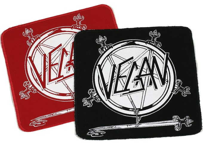 PATCH Vegan SLaYeR Logo Iron-On with Stitched Edges 8.5 x 9inches - Free USPS First Class Mail Shipping within the US