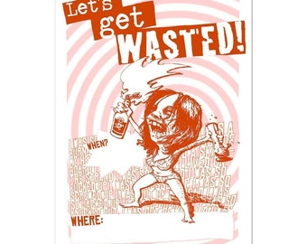 Lets Get Wasted Postcard