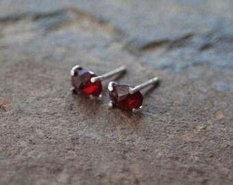 Red Garnet Stud Earrings / Garnet Earrings / Red Gemstone Earrings / Sterling Silver Earrings / January Birthstone / Valentines