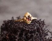Gold Plated Sterling Silver Garnet Gemstone Ring Sterling Silver Ring Engagement Ring Elegant Ring Rose Cut Gemstone Garnet