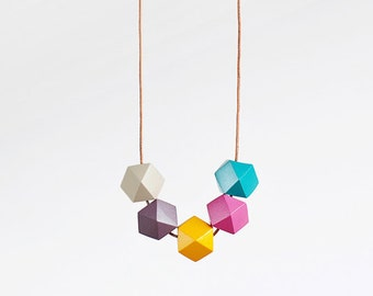 Wood Geometric Necklace / Geometric Necklace / Geometric Jewelry  / Light Colorful Necklace