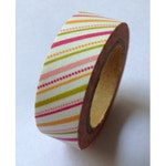 Cute Light Pink, Dark Pink, Yellow & Lime Green Stripes / Stripy Dotted Pattern Washi Paper Deco Tape