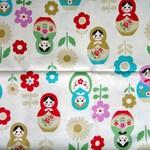 Cute Off White Japanese Cotton Fabric - Large Matryoshka Russian Dolls / Babushka Dolls / Stacking Dolls And Flowers