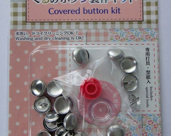 Button Covering Kit / Cover Button Kit / Set To Make Fabric Covered Buttons - Makes 27 Buttons 12mm Diameter