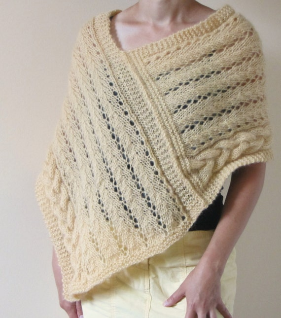 Cables and Lace Poncho Wrap Pattern knitting   Etsy