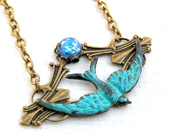 Bird Necklace, Swallow Necklace, Turquoise Bird Necklace, Vintage Cabochon