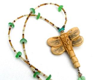 Dragonfly Pendant Necklace, Natural Carved Bone Pendant