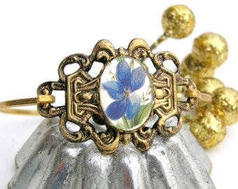 Vintage Blue Flower Bracelet, Vintage Bracelet, Flower Bracelet, Flower Cuff